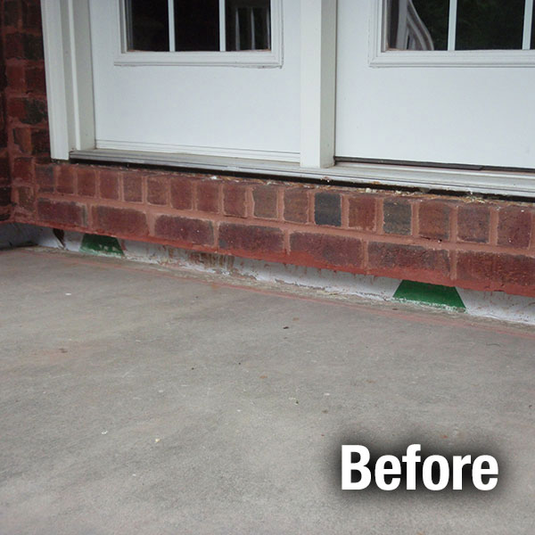 Fort Wayne Concrete Porch Leveling - Before